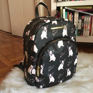 Betsey Johnson Black Doggy French Bulldog Backpack